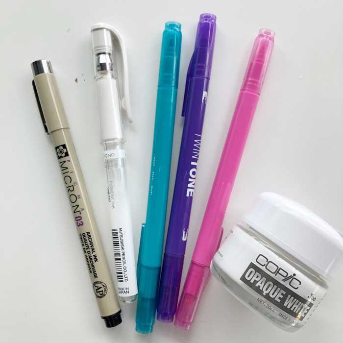 rotuladores y tinta blanca para acuarela