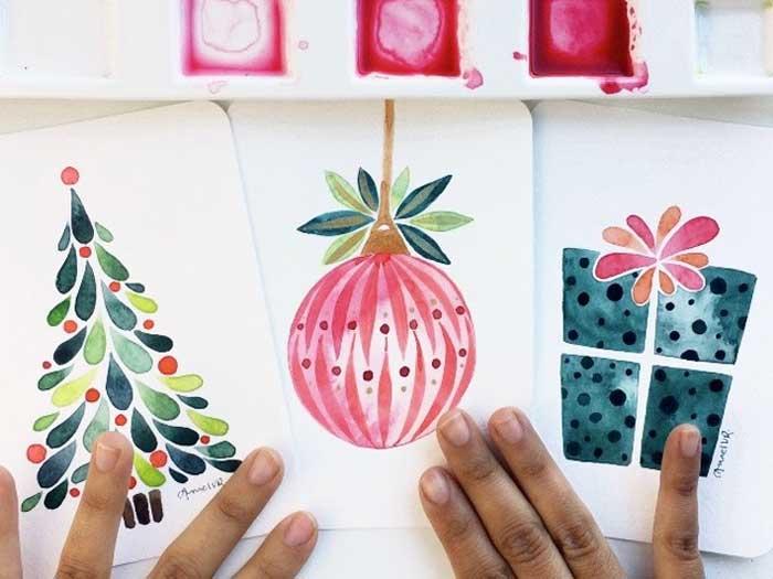 Pintar postales con acuarelas